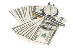Dollars and stopwatch Stock Images