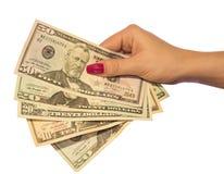 Dollars sur le fond blanc Images libres de droits