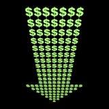 Dollars symbol down arrow Royalty Free Stock Photography