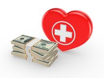 Dollars and symbol of medicine. Royalty Free Stock Images