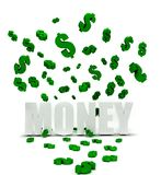Dollars symbols raining over money Royalty Free Stock Image