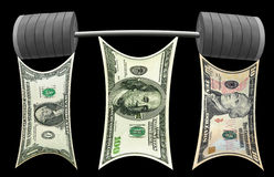 Dollars team lifting heavy barbell. Isolated. Stock Image