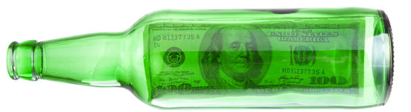 Dollars Theme. Dollar a bottle green, in the horizontal direction Stock Image