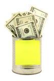 Dollars and tin Stock Photo