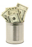 Dollars and tin Royalty Free Stock Photography
