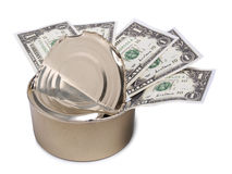 Dollars in tin can one Stock Photography