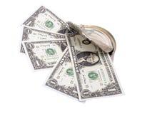 Dollars in tin can three Stock Photo