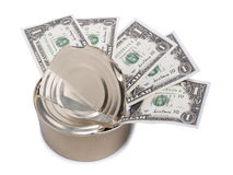 Dollars in tin can two Royalty Free Stock Image