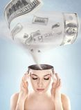 Dollars tornado. In woman's head Stock Photos