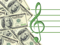Dollars and treble clef Stock Images