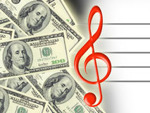 Dollars and treble clef Stock Image