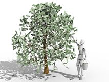 Dollars Tree. Crash test dummy picking up dollars from a tree over a white background royalty free illustration
