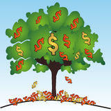 Dollars tree. Money tree with dollars - vector illustration Stock Photo