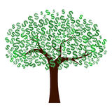 Dollars Tree. Illustration of tree with dollars currency symbols for leaves Stock Photography
