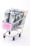 Dollars in trolley Royalty Free Stock Photography