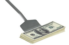 Dollars on trowel Stock Photo