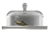 Dollars under the glass cover. There is one hundred dollars bank-note under the glass cover Stock Photography