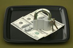 Dollars under the lock Royalty Free Stock Photo