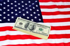 Dollars and US banner Royalty Free Stock Image