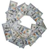 Dollars US de la pile 100, d'isolement Images libres de droits