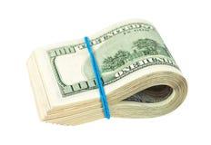 Dollars US Enveloppés par le caoutchouc Images libres de droits