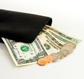 Dollars US et pochette Image stock