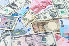 Dollars US, Euro, Yen Images libres de droits