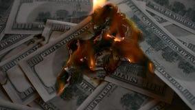 Dollars US : l'argent brûle dans les flammes banque de vidéos