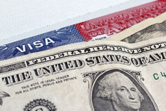 Dollars and US visa Royalty Free Stock Photos