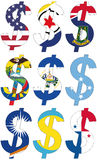 Dollars with various flags - set Royalty Free Stock Images