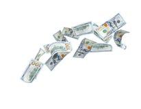 Dollars velen het vallen stock foto