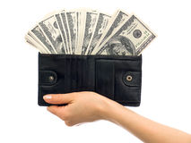 Dollars in a wallet Stock Images