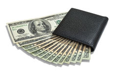 Dollars in wallet Stock Photos