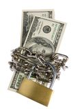 Dollars With Chain On White Stock Image