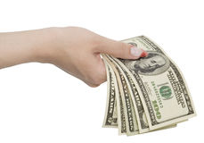 Dollars in woman hands Stock Photo