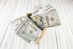 Dollars on wood background Royalty Free Stock Photo
