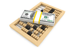 Dollars with a wooden abacus. On a white background Stock Photos