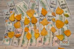 In dollars, worden de bladeren voorgesteld in de vorm van 2018 Stock Foto's