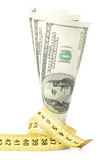 Dollars with yellow metre Royalty Free Stock Photography