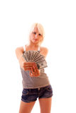 dollars on young woman background Royalty Free Stock Photos