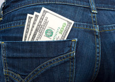 Dollars in your pocket Stock Photo