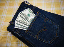 Dollars in your pocket. Royalty Free Stock Photo