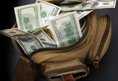 Dollars in zak royalty-vrije stock afbeeldingen