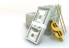 Dollarschein 3d 100 und Erfolgsleiter auf weißem Hintergrund Stockfotografie