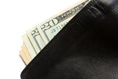 Dollarschein in der alten schwarzen ledernen Geldbörse Stockfotografie