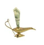Dollarschein, der aus Wunderlampe von Aladdin heraus haftet Lizenzfreie Stockbilder
