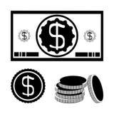 Dollarschein, eine Münze, ein Stapel Münzen vektor abbildung