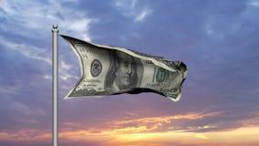 Dollarschein-Geldflagge bei Sonnenuntergang lizenzfreie abbildung