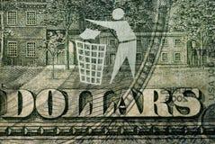 Dollarschein mit einem Zeichen Abfall Stockfoto
