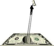 Dollarschein mit Mann auf Strichleiter Stockfoto